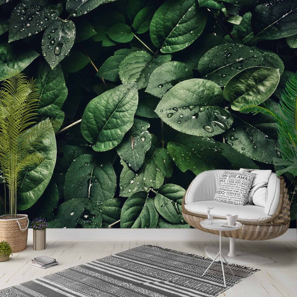 Else Tropical Jungle Green Leaves Water Drop 3d Photo Cleanable Fabric Mural Home Decor Living Room Bedroom Background Wallpaper