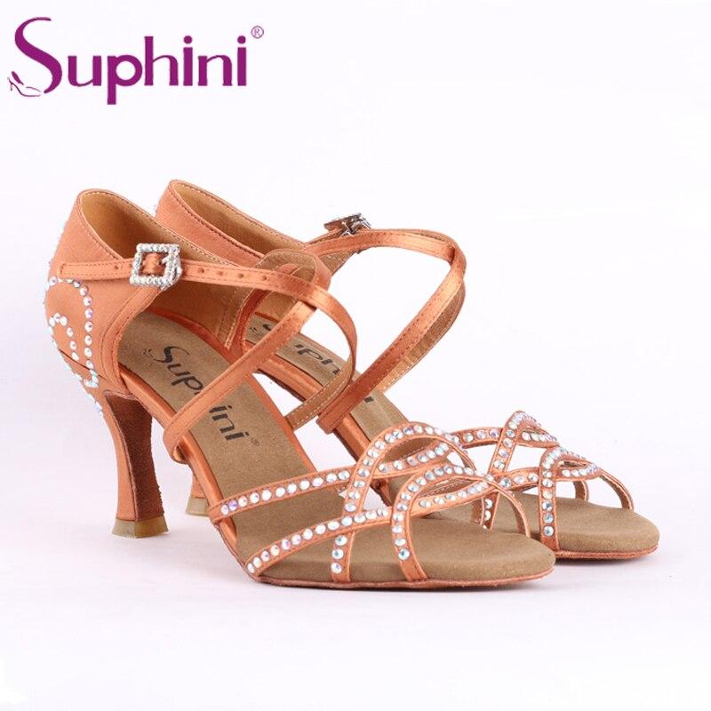 Suphini nouveau produit chaussures Salsa confortables hauteur Standard talon chaussures de danse latine à la main