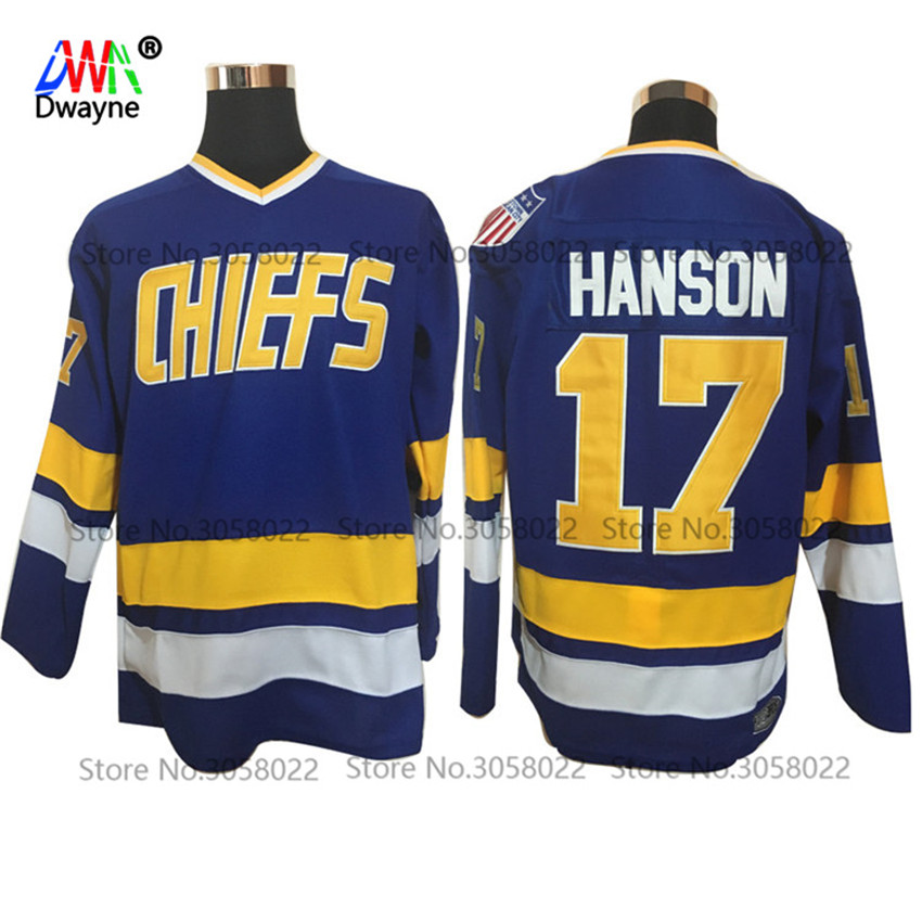 2017 Dwayne Mens Cheap Throwback Ice Hockey Jersey #17 Steve Hanson Jersey Charlestown Chiefs Retro Stitched Movie Sport Jersey
