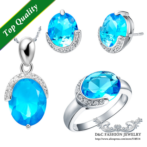 2016 New Oval Silver Color Pendant Earrings Rings Sets Red Jewelry with Free Velvet Pouch Bijouterie Fashion Jewelry T085