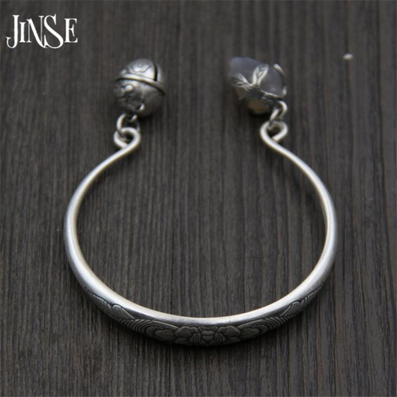 New Sterling Silver Jewelry S999 Fine Silver Peony Bangles for Women Silver S999 Jewelry Bell Charms Bracelets & Bangles