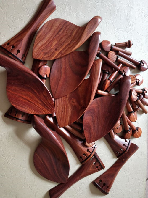 6 Set New Rosewood Violin Parts 4/4, Tailpiece, Chinrest, Pegs, Endpin