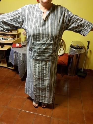 Womens Cotton Linen Dress Big Size 5Xl Large Size Kaftan Long Sleeve Summer Striped Women Plus Size Long Maxi Boho Dresses photo review
