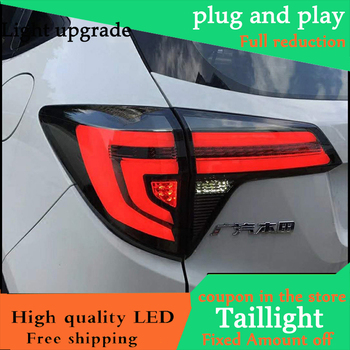 Car Styling Dynamic Turn Signal Tail Lights For Honda HRV HR-V 2015 2016 Taillight LED Tail Light Rear Lamp Drive+Brake+Signal