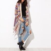 2017 Vintage Etnik Stil Düzensiz Hem Kazak Hırka Kadınlar Renkli Püskül Örme Şal Kazak Dış Giyim Gevşek Triko