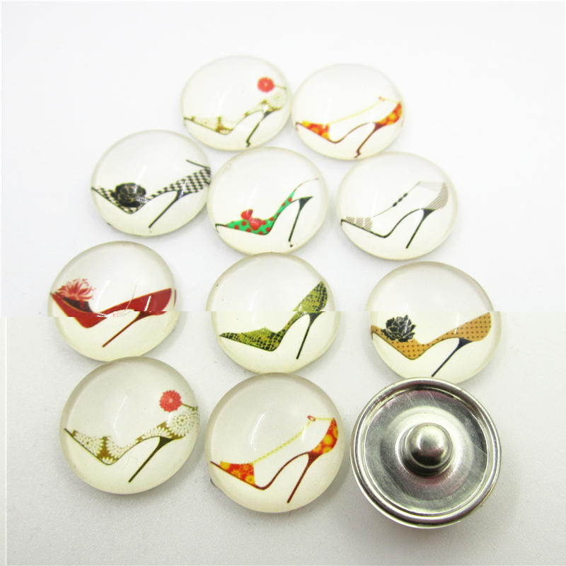 New 20pcs/lot Mix High Heeled Shoes Snap Buttons For 18mm Ginger Snap Bracelet&Bangles DIY Snap Button Jewelry Charms image