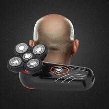 Afeitadora eléctrica de 5 cuchillas flotantes, maquinilla de afeitar para hombres, recortadora de barba, cabeza calva, máquina de afeitar, afeitadora de pelo corporal recargable por USB