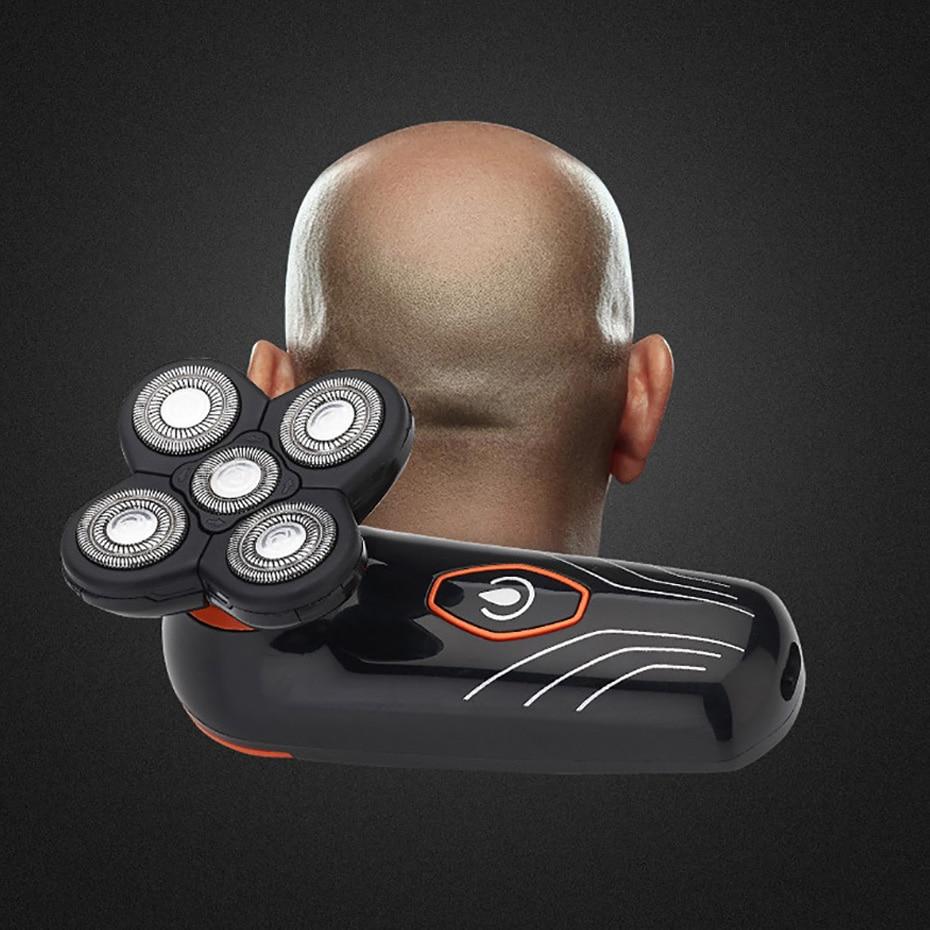 Rasoir électrique 5 Lame Flottante Rasoir Hommes Barbe Tondeuse Tête Chauve Machine à Raser USB Rechargeable Lavable Corps Tondeuse À Cheveux