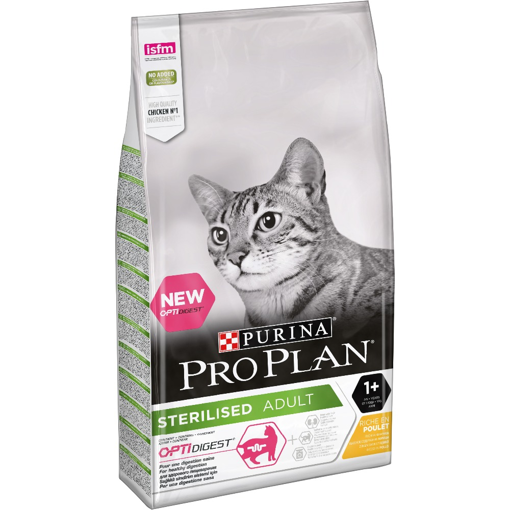 Dry food Pro Plan for sterilised cats and neutered cats with sensitive digestion, with chicken, Package, 10 kg pro plan dry food for sterilized cats and neutered cats with sensitive digestion with chicken package 400 g