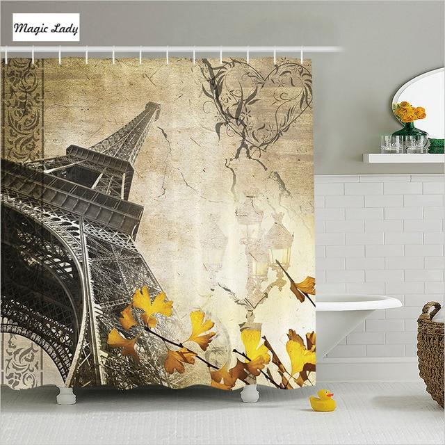 Shower Curtain Brown Bathroom Accessories France Paris Autumn Leaves Art Flower Pattern Beige Yellow Home Decor