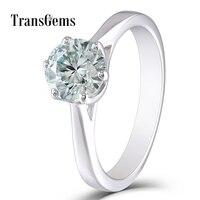 TransGems 10 К белого золота центр 1ct Обручение кольцо 6,5 мм Диаметр 8 Сердце и стрелки с небольшой синий Муассанит для женщин подарок