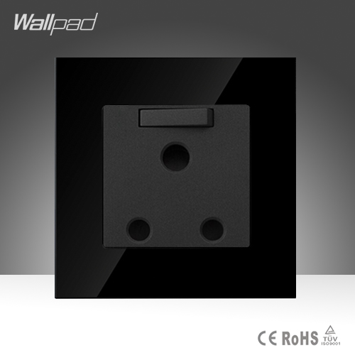 Wallpad 15A/16A UK Switched Socket Luxury Black Crystal Glass Switch and 15A/16A UK South Africa Wall Socket, Free Shipping