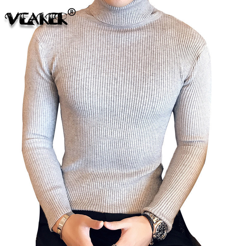 Mens Turtleneck Sweaters Autumn Pullover Slim-Fit Knitted Male Winter Fashion Black Trendy