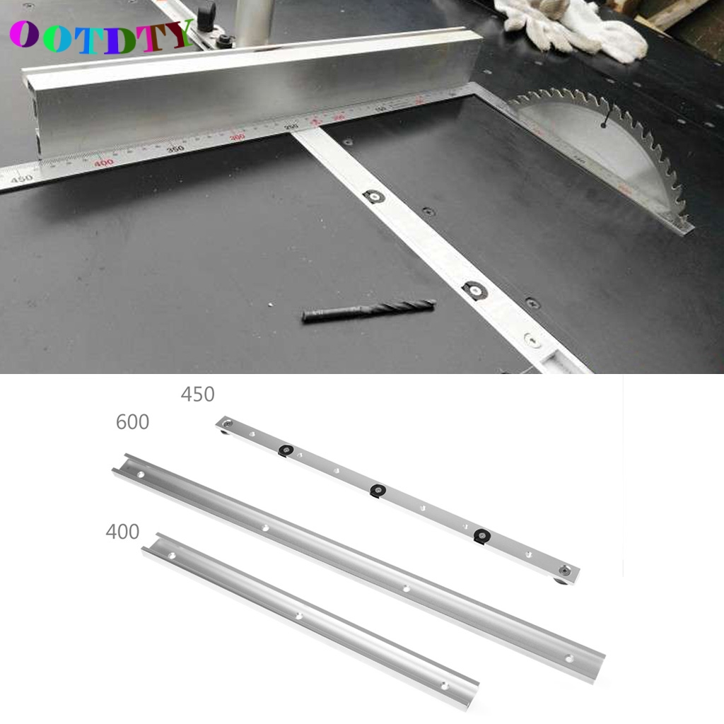 OOTDTY 400/600mm T-tracks Aluminum Slot Miter Track Jig Fixture For Router Table Bands 2pcs t tracks t slot miter track jig fixture slot for router table band saw t tracks length 300 400 600 800mm kf713