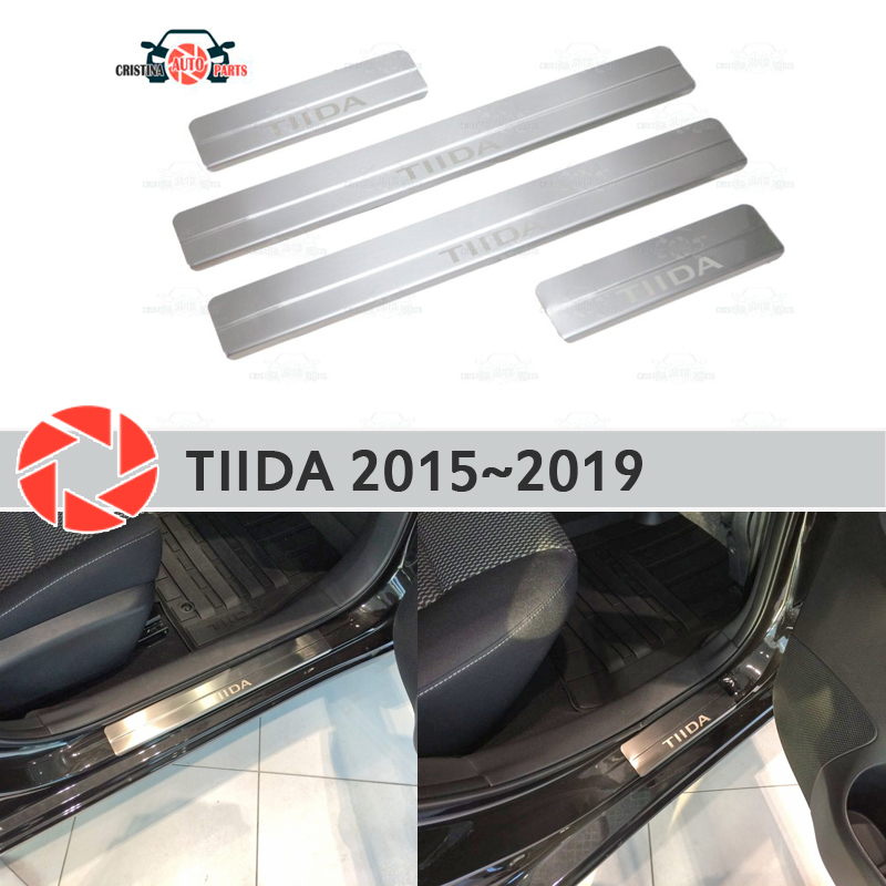 цена на Door sills for Nissan Tiida 2015~2019 step plate inner trim accessories protection scuff car styling decoration laser letters