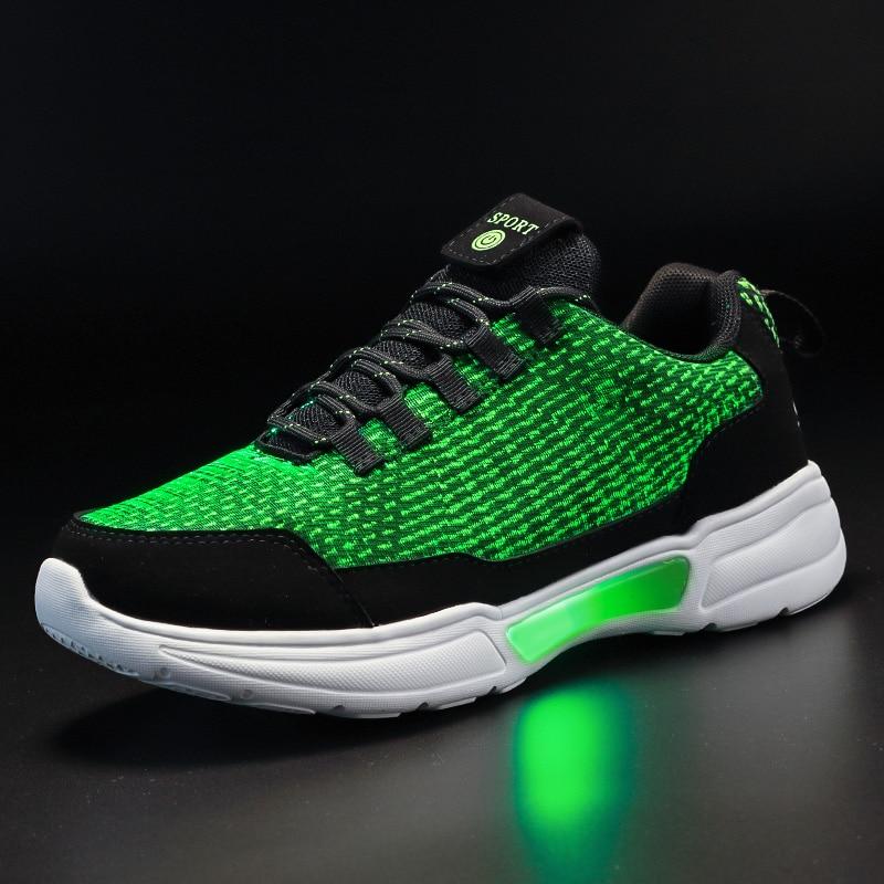 Tío Jerry nuevo LED de fibra óptica zapatos para los muchachos de las muchachas de las mujeres de los hombres de carga USB Luz de zapatos para adultos brillante correr zapatillas de deporte