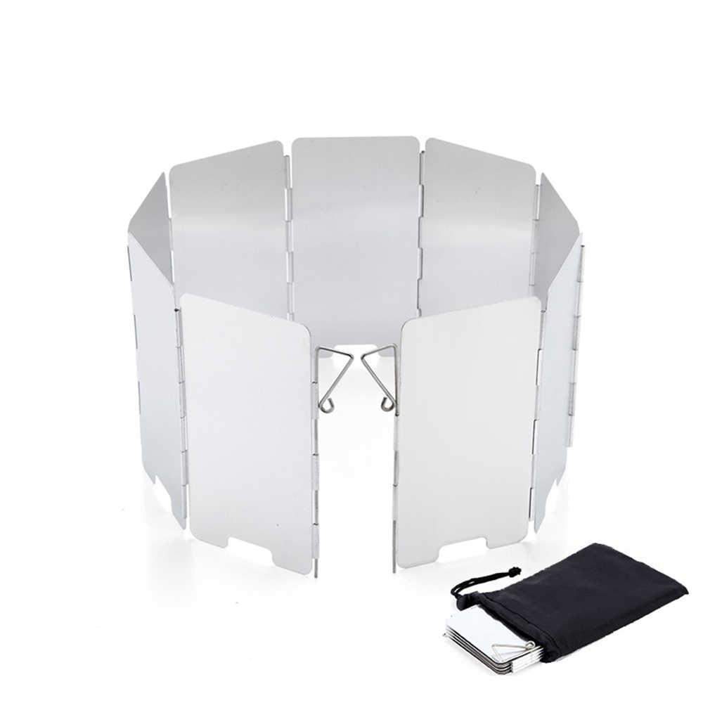 85 x 24 cm Parabrisas de Viento de Aleaci/ón De Aluminio para Estufa de Gas al aire libre 10 Placas Al Aire Libre Camping Estufa Parabrisas Plata D-Orange Parabrisas Plegable Camping