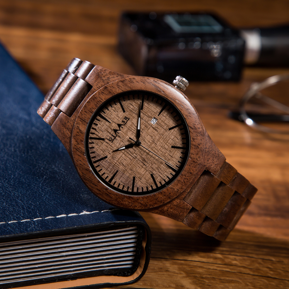 GIMSR wooden watches male brand minimalist wood watch luxury men brand FOR Janpan movement Date relogio watch relogio masculino стоимость