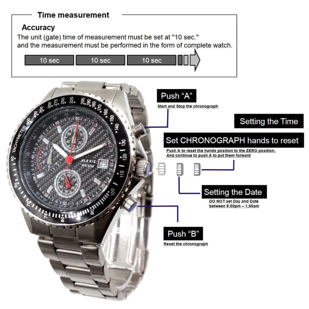 Alexis Men Analog Quartz Round Wrist Watch Miyota 0S10 Chronograph Matt Silver Stainless Steel Band Black Dial Water Resistant original xgimi bluetooth remote control for h1 z4x z4 aurora z4 air portable dlp projector