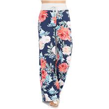Causal Women Autumn Flower Print Pants 2018 Drawstring Wide Leg Pants Loose Straight Trousers Long Female