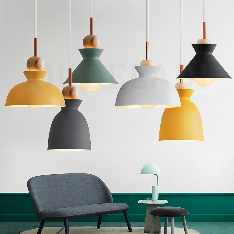 Nordic Macaron Wood Pendant Lights Metal Fashion Creative Restaurant Bedroom Living Room Minimalism Design Lampshade Lamps E27