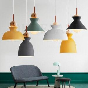 Nordic Macaron wood Pendant Lights metal fashion creative restaurant bedroom living room Minimalism design lampshade lamps E27(China)