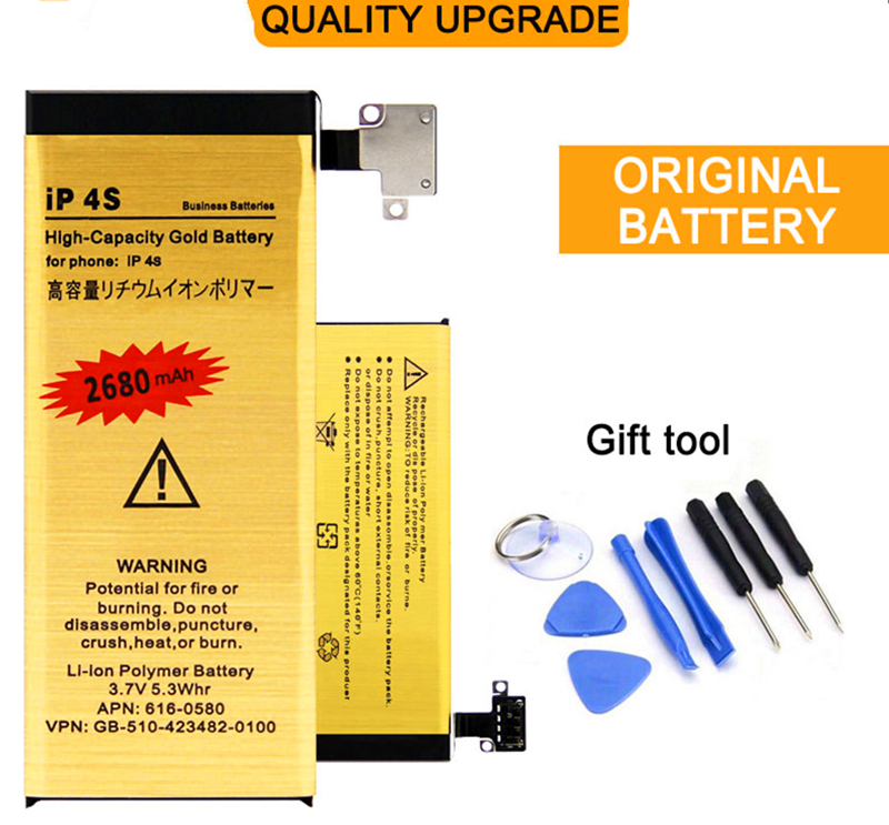 2017 best New High Capacity For Apple iPhone 4S battery Replacement Genuine 0 Cycle gold Battery