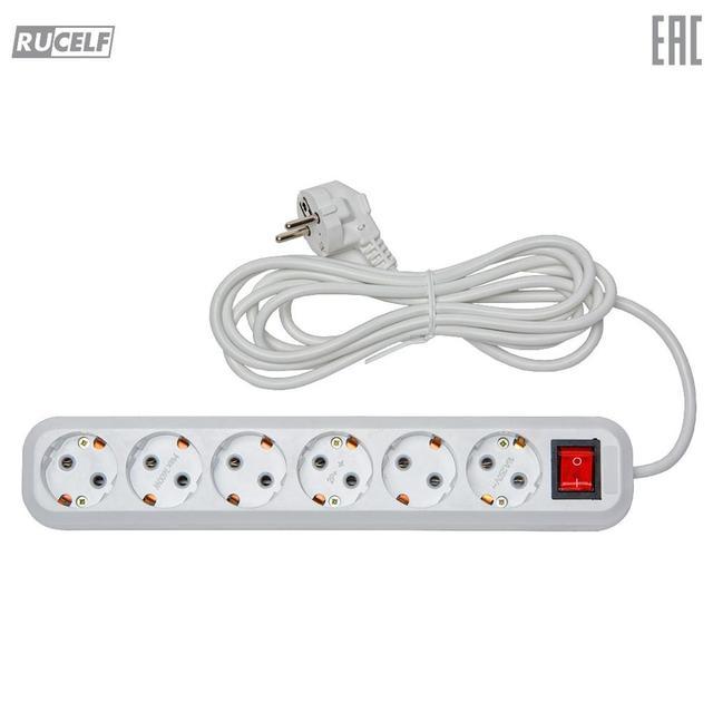 Сетевой фильтр (с кнопкой) RUCELF 6 гн. ПВС 3х1 арт. RU-W06-310-03F