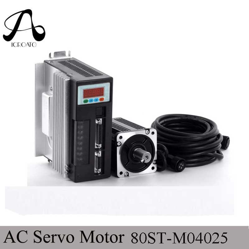 Servo System Kit 80ST-M04025 1000W AC Servo Motor + 4N.M 2500RPM 1KW Motor +Single-Phase Match Driver AASD-20A+3M Cable 1kw nema32 ac servo motor drive kit 4nm 220v 2500r min 80mm 80st m04025 1000w for cnc machine 3m encoder cable 2 years warranty