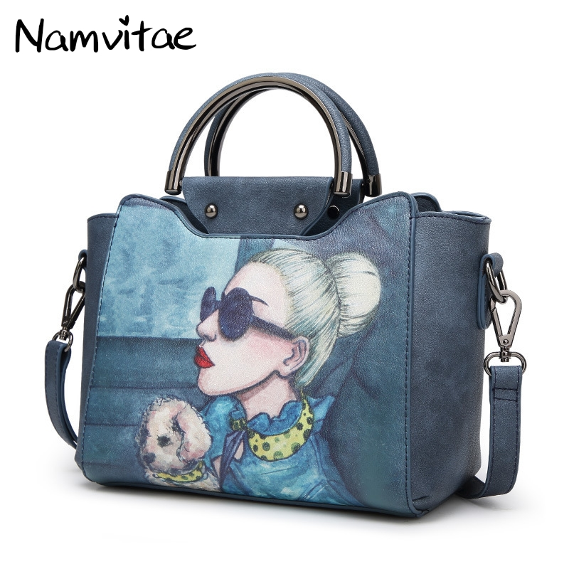 national chinese style handbags patent leather bag tote bolsa bags new fashion flowers ladies printing women female handbag Namvitae Women Bag Cartoon Printing Fashion Ladies Handbag Female PU Leather Large Crossbody Shoulder Bags Bolsa Feminina