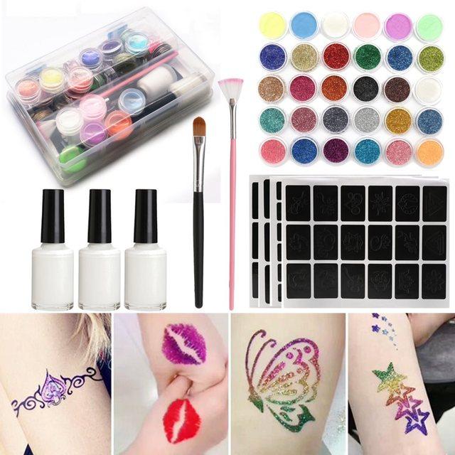 24 Farben Schimmern Glitter Tattoo Komplette Set 108 Schablonen 3 ...