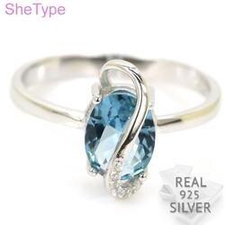 Кольцо из стерлингового серебра 925 пробы с топазом, голубой топаз, фианит, 14x7 мм