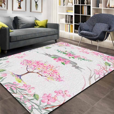Else Gray Floor Pink Sakura Trees Floral Flower 3d Print Non Slip Microfiber Living Room Decorative Modern Washable Area Rug Mat