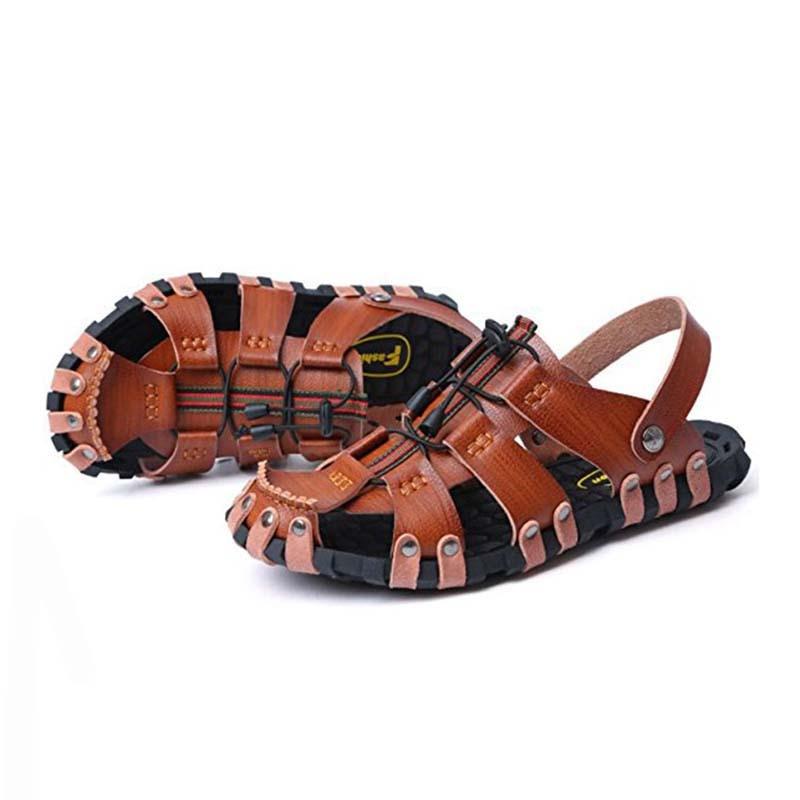SAGUARO Äkta Läder Män Sandaler Mode Gladiator Sommar Strand - Herrskor - Foto 4