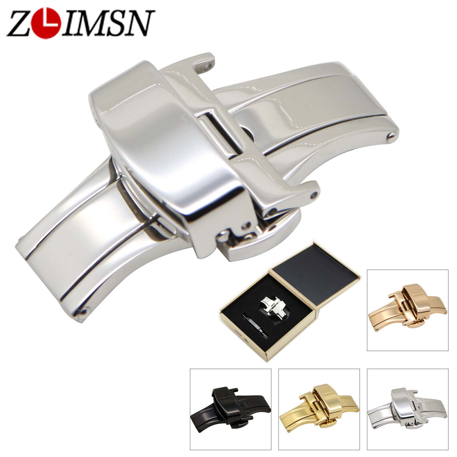 где купить ZLIMSN 12~22mm Butterfly Buckle Polished Brushed Stainless Steel Clasp for Leather Watch Bands Belt Silver Black Rose Gold Color по лучшей цене