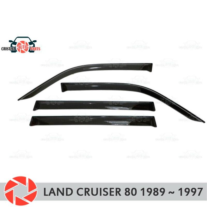 Deflector janela para Toyota Land Cruiser 80 1989 ~ 1997 chuva defletor sujeira proteção styling acessórios de decoração do carro de moldagem