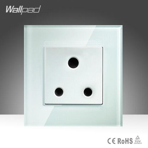 15A UK Socket Wallpad White High Quality Crystal Glass 15 UK South Africa Wall Socket Free Shipping