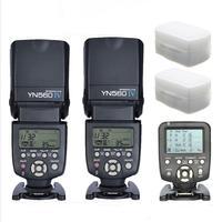 YONGNUO 2pcs YN 560 IV Universal Flash Speedlite With 560TX Transmitter For Canon Nikon Fujifilm Flashlight Camera With Diffuser