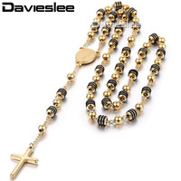 6 8mm Gold Black SilverTone Stainless Steel Bead Chain Jesus Christ Cross Pendant Rosary Necklace Mens