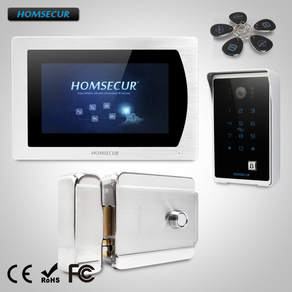 HOMSECUR 7 Wired Video Door Phone Intercom System Electric Lock+Keys Included with Touch Screen Monitor homsecur 4 3inch wired video door phone intercom system with electric lock delivery from russia
