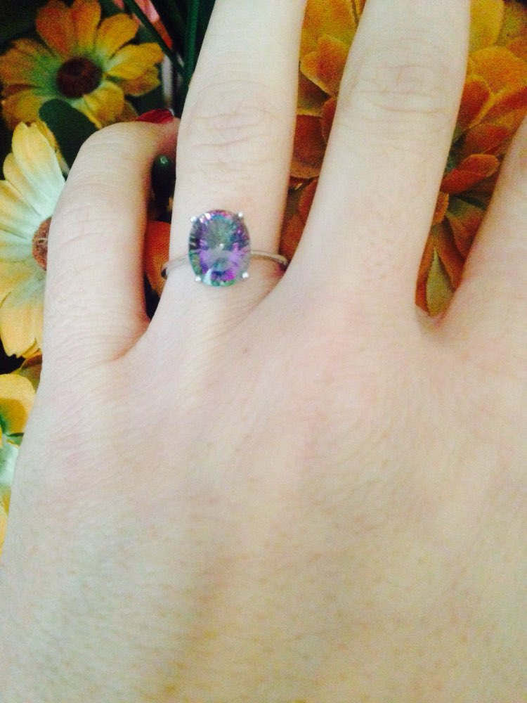 Oval Concave Cut 5ct Rainbow Topaz Ring photo review