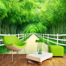 Bamboo forest fence path fresh 3D TV background wall production of wallpaper murals custom home