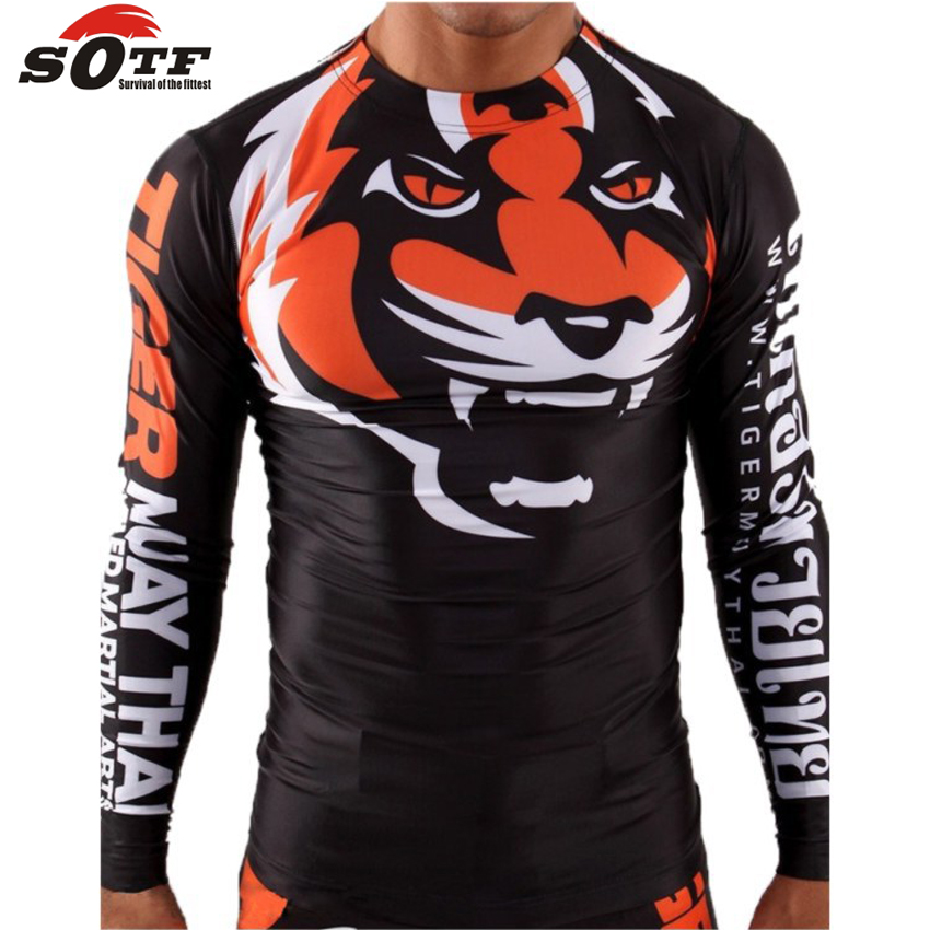 SOTF Tight elastic body-building clothes Tiger Muay Thai MMA Muay Thai boxing shirt Long sleeve Signature series Black orange