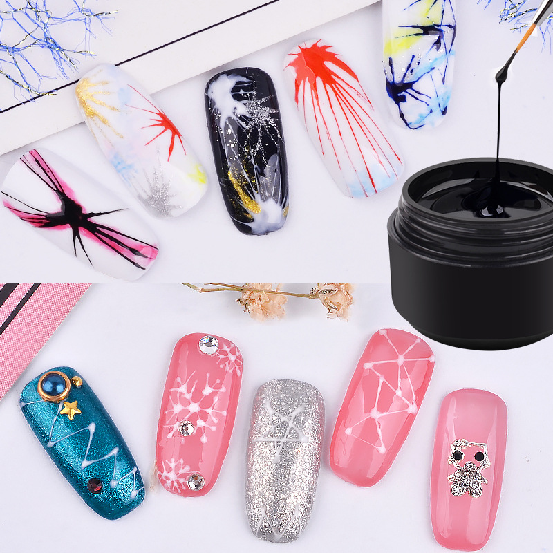 Nail Gel Creative Plastic Silk Drawing Spider Nail Gel Point To Line Painting Gel Lacquer Varnish Pulling Silk Spider Nail Art Gelpolish Beauty & Health