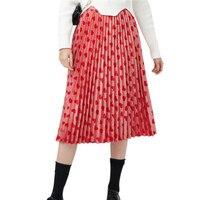 2018 고품질 영국 스타일 패션 여성 활주로 주름 스커트 심장 인쇄 라인 연예인 스커트 레드 Saia