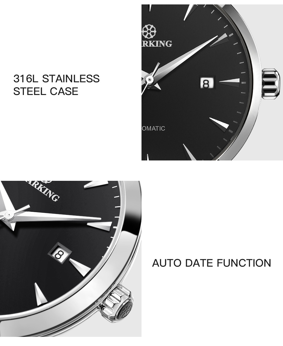 UTB8DbagtJnJXKJkSaiyq6AhwXXad STARKING Mens Clock Automatic Mechanical Watch All Stainless Steel Simple Business Male Watch xfcs Luxury Brand Dress WristWatch