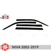 Deflector janela para Chevrolet Niva 2002-2019 chuva defletor sujeira proteção styling acessórios de decoração do carro de moldagem