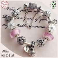 Top Quality Luxurious Silver Jewelry Gifts Cherry Flower Charm Series Famous Brand 925 Sterling Silver Charm Bracelet For Gift