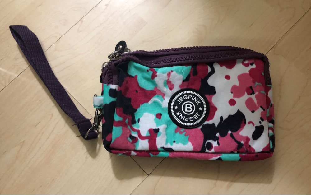 J-BG PinK Nylon Purse Double Layer Pocket With Zipper Coin Holder 2019 New Wallet Bracelet Clutch Slim Purse Girl Cheap Hot Sale photo review