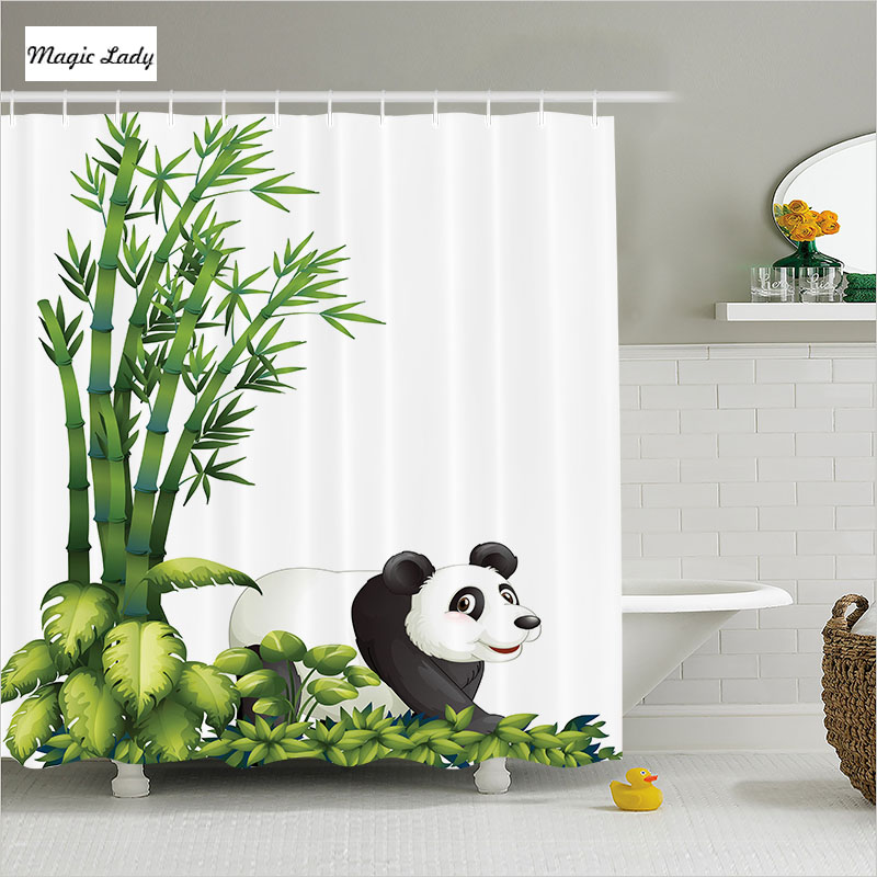 Shower curtain bathroom accessories chinese panda bamboo for Black and green bathroom accessories